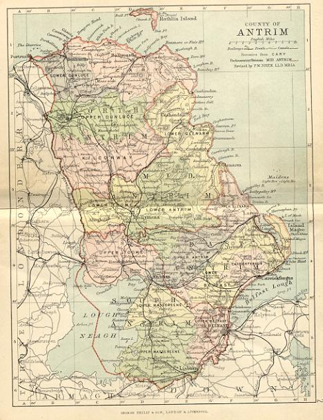from Philip's handy atlas of the counties of Ireland, constructed by John Bartholomew; revised by P.W. Joyce, London 1882.
