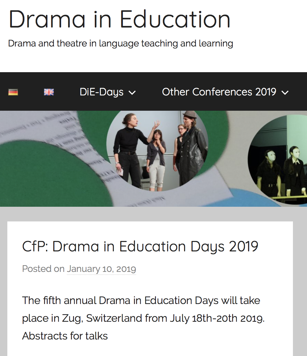 5th Annual Drama in Education Days in Zug, Switzerland from July 18th-20th 2019