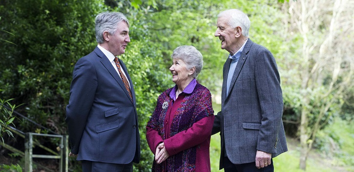 Professor Noel Caplice, Chair of Cardiovascular Sciences, UCC; pictured with John Nolan from New Ross, a participant on the trial, and his wife Margaret.
