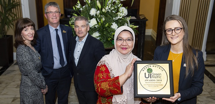 Dr Maria Kirrane, UCC Sustainability Officer; Professor John O'Halloran, Deputy President and Registrar UCC; Mark Poland, Head of Buildings and Estates, UCC; Professor Riri Fitri Sari, Chairperson of UI GreenMetric, University of Indonesia; Kelly Coyle, Deputy President, UCC Students' Union.