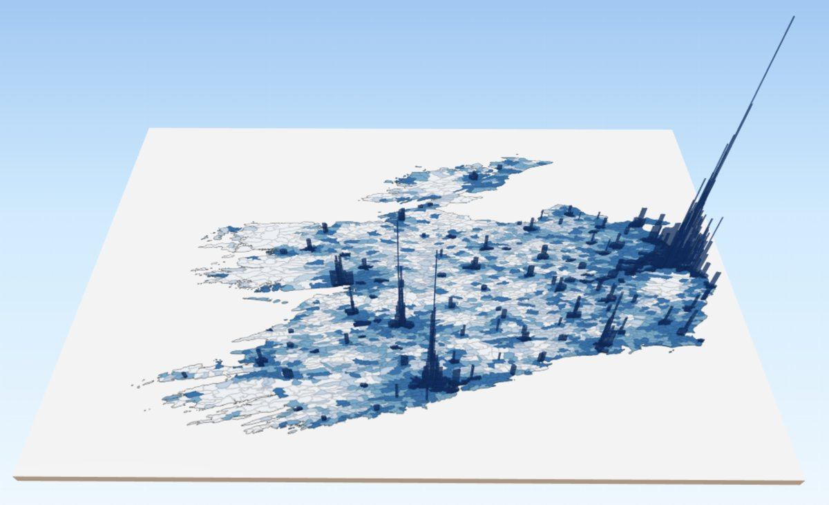 Our #mapoftheweek this week is a 3D rendering of population density across Irish electoral divisions using data from Census 2016.