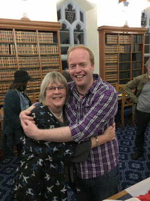 Mary O'Driscoll at her retirement party with Stephen Dee, a past student of Folklore who has worked with the Project for the last three years.