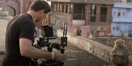 Pictured: Mark MacEwen filming the macaques.