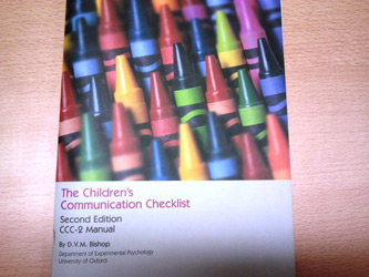 Children's Communication Checklist (CCC-2)- An image of the CCC-2 manual