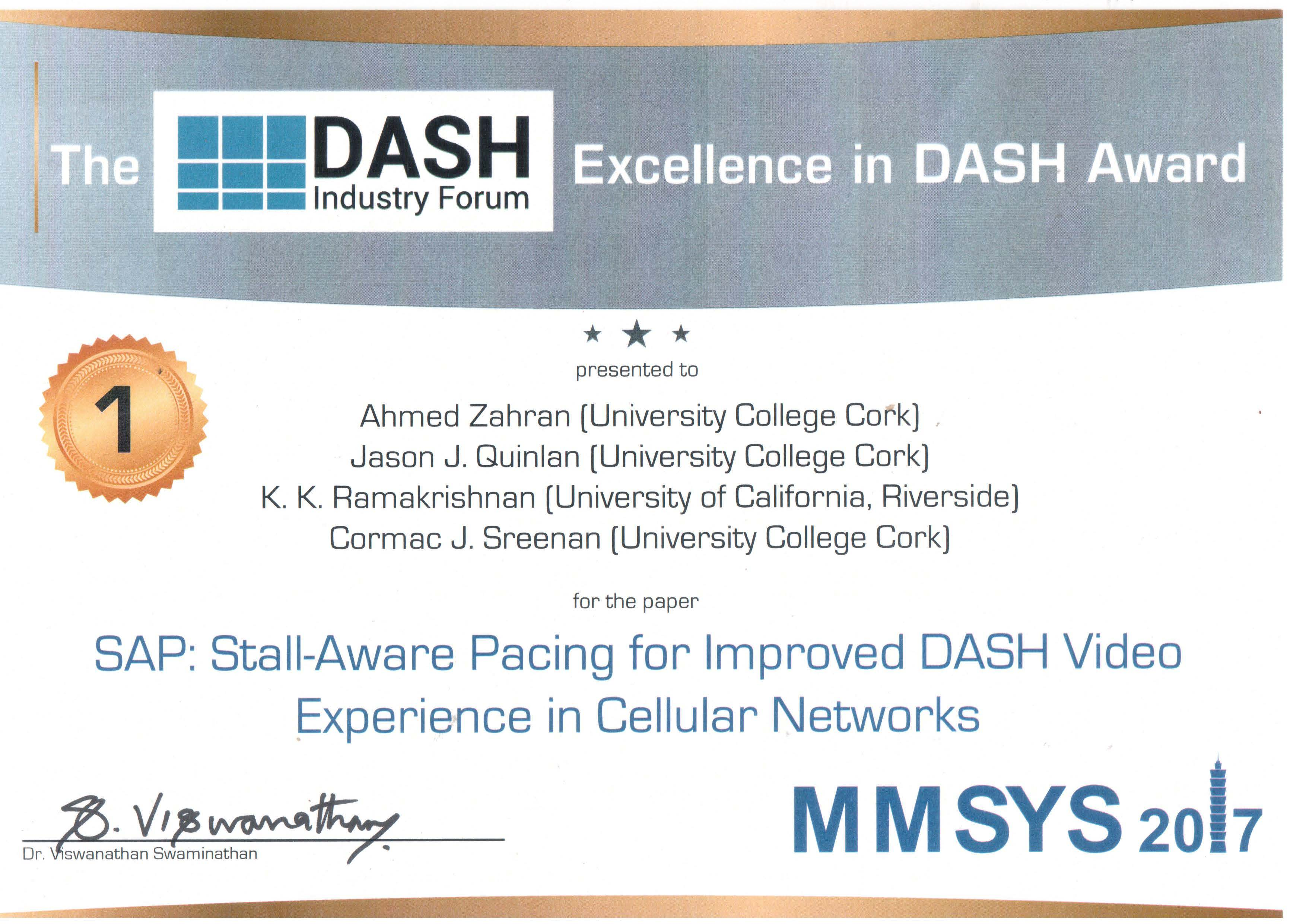Winner of the 'Excellence in DASH Award' at ACM MMSys 2017