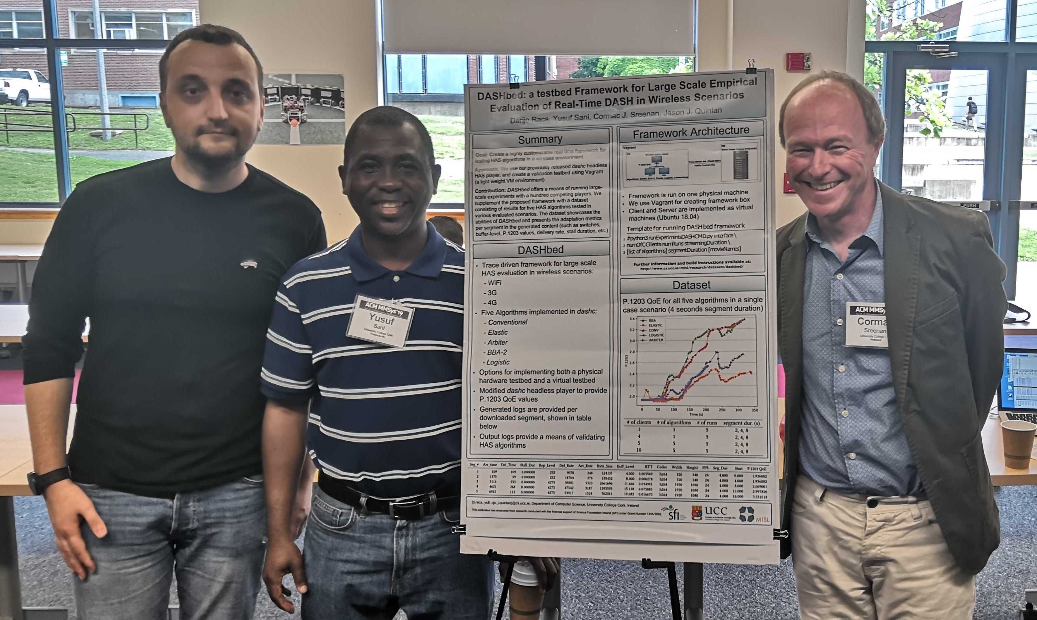 Darijo, yusuf and Cormac presenting DASHbed at MMSys 2019