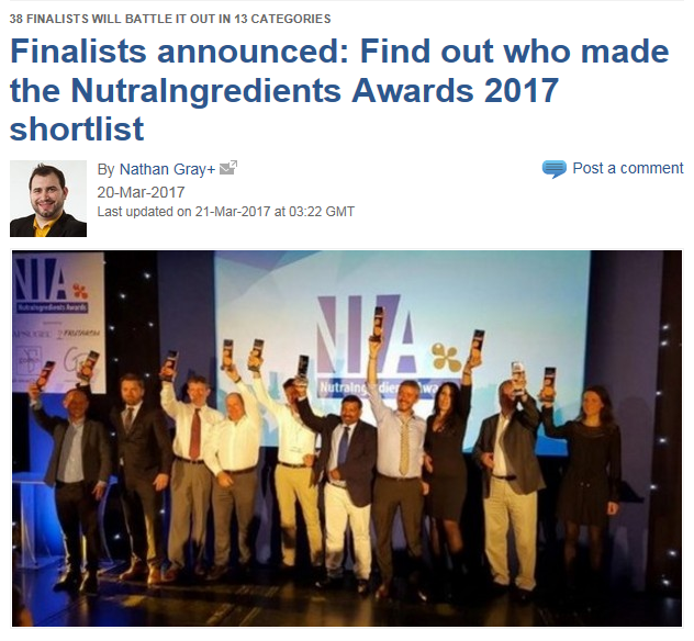 NutraIngredients Awards 2017 - CCVDNR are finalists!