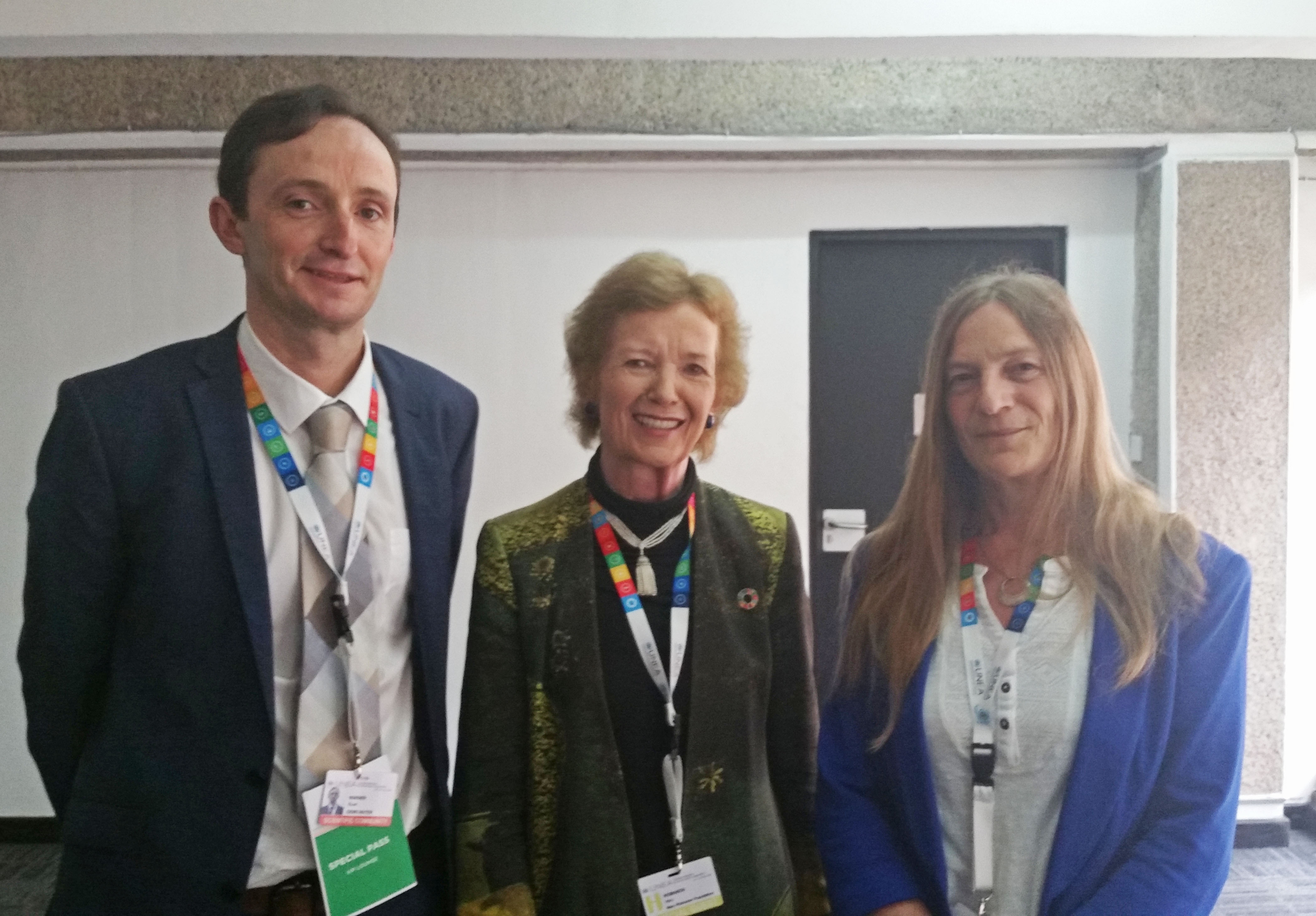 Stuart Warner and Dr. Debbie Chapman with Mary Robinson at UNEA 2016
