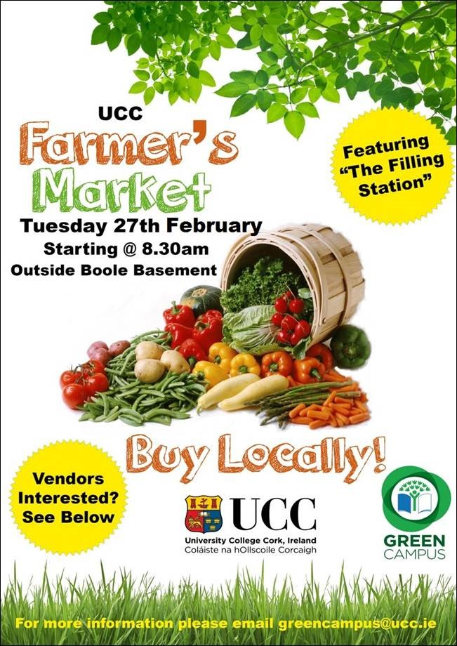 UCC Farmer's Market Today, Tuesday 27th Feb