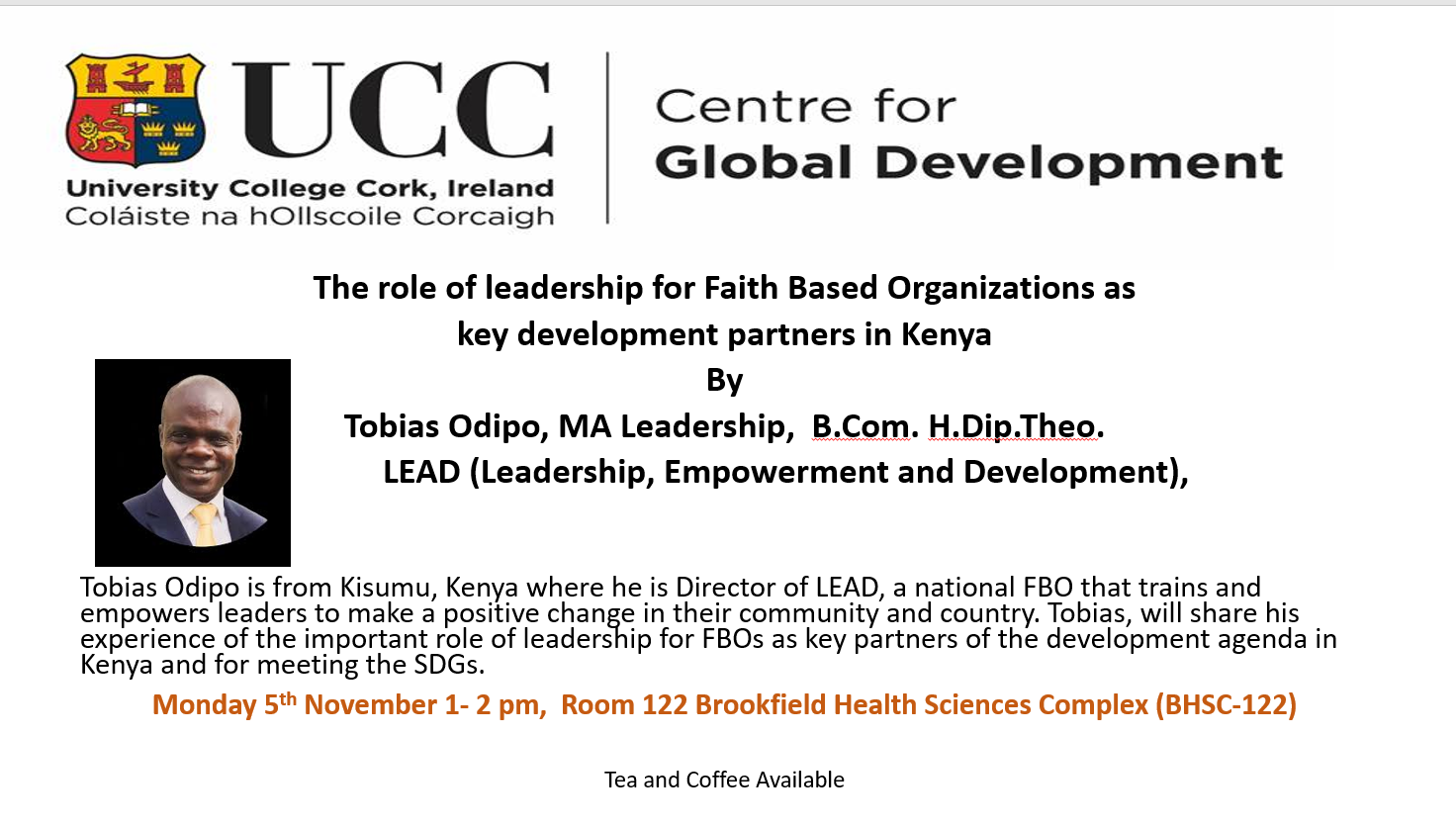 UCC Centre for Global Development - November 5th - Seminar on Leadership