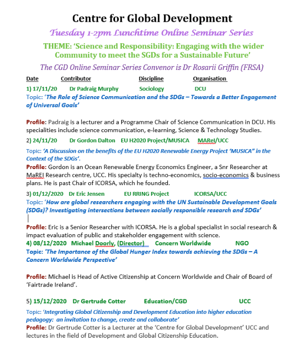 CDG Lunchtime Seminar Series
