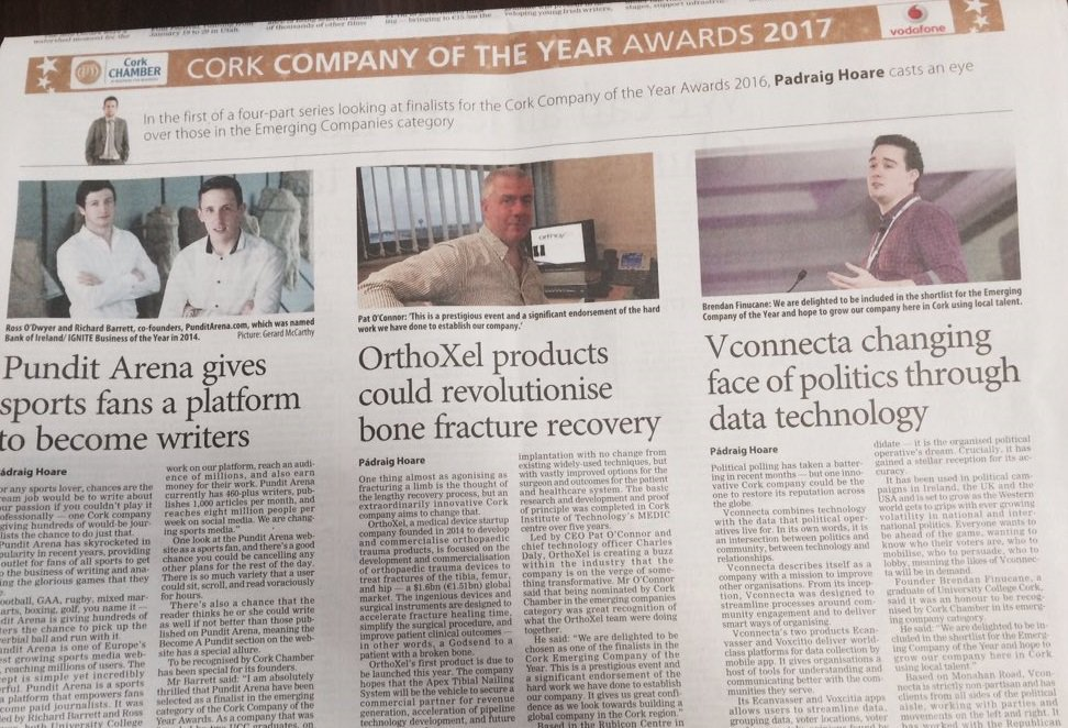 IGNITE Start-Ups Vie for Cork Chamber Emerging Company of the Year 2017