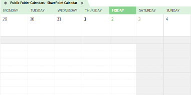 Main page of SharePoint Calendar
