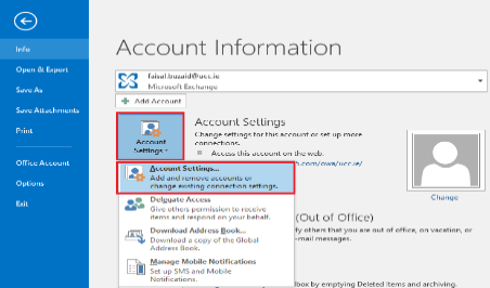 Account setting window