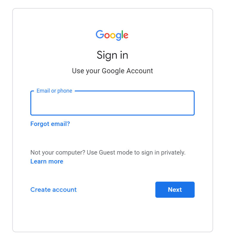 screen shot of google sign in page