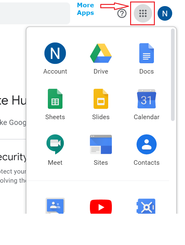 screenshot of all the google applications