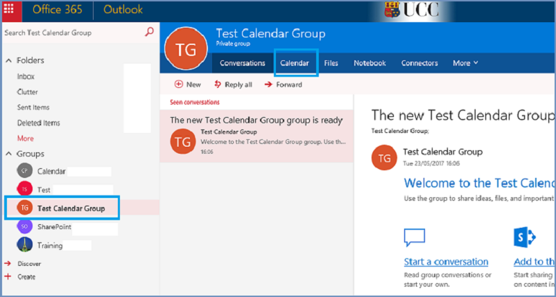 Click on Calendar tab to view Group Calendar