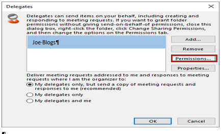 Select delegate user from list of delegates
