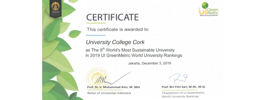 UCC ranked as the 9th most sustainable university in the world