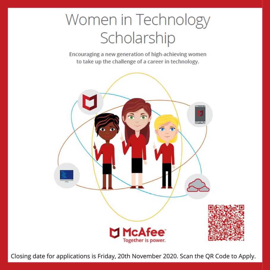 McAfee Cork Women in Technology Scholarship - Open Now!