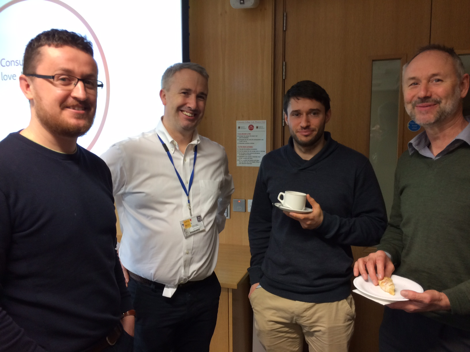 James Glynn, ERI; Declan Soden, Cancer Research; Michael O Connor, MaREI; and Jerry Sutton, MaREI participating in the SPRINT Accelerator.