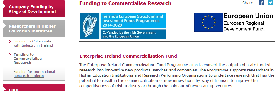 Enterprise Ireland Commercialization Fund call for applications