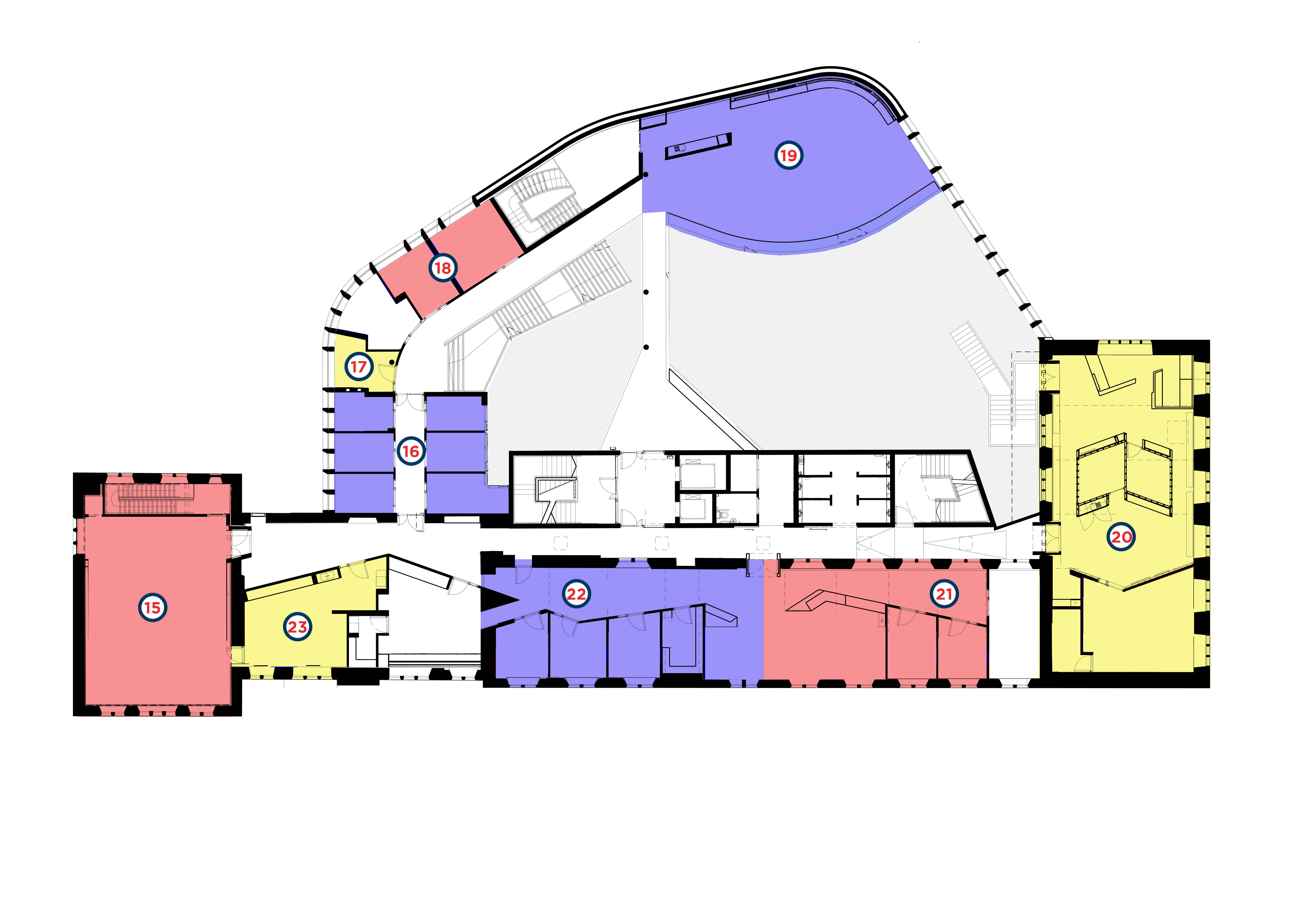 Layout floor plan of the First Floor of the Hub