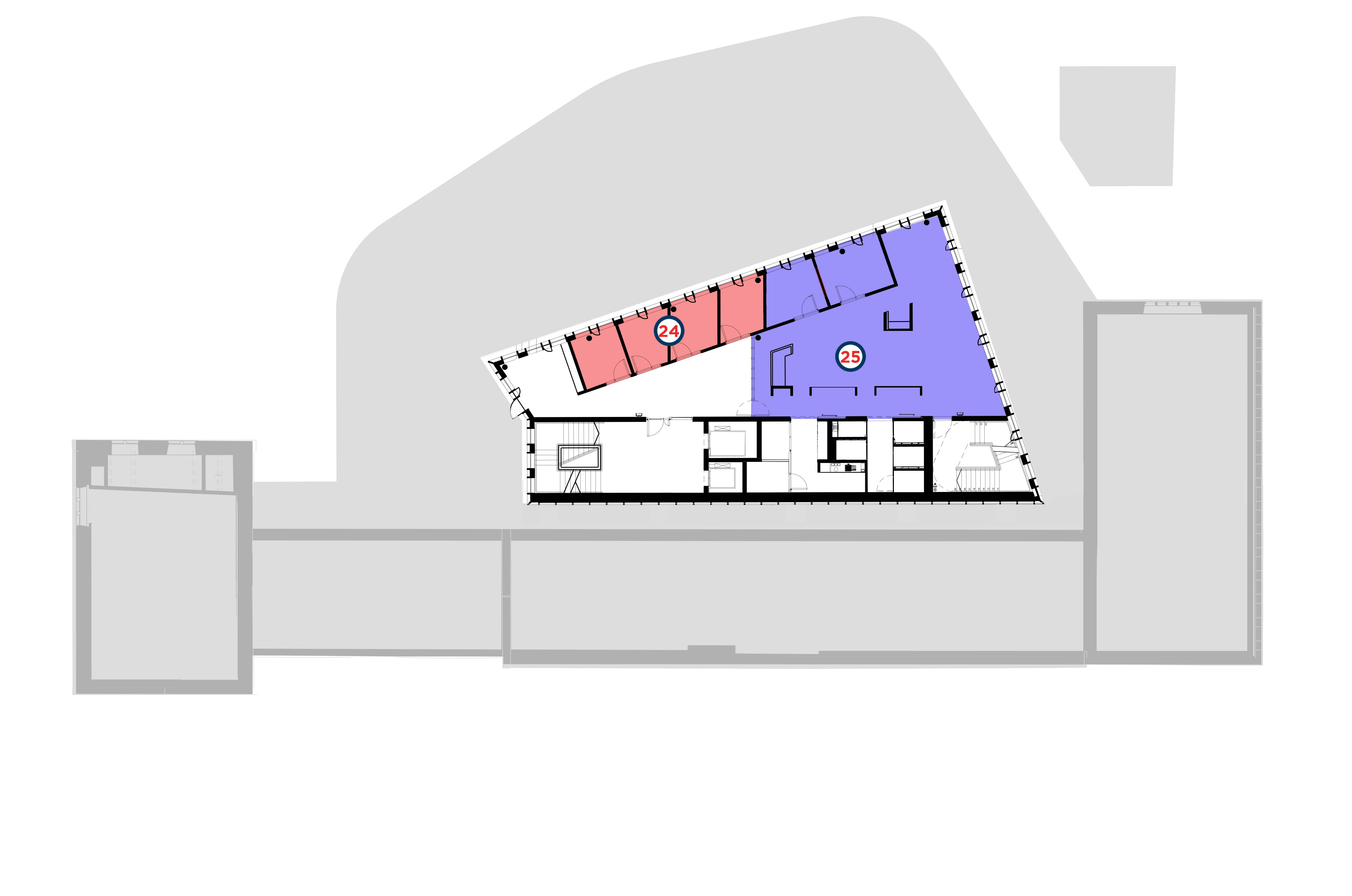 Layout floor plan for the Second Floor of the Hub