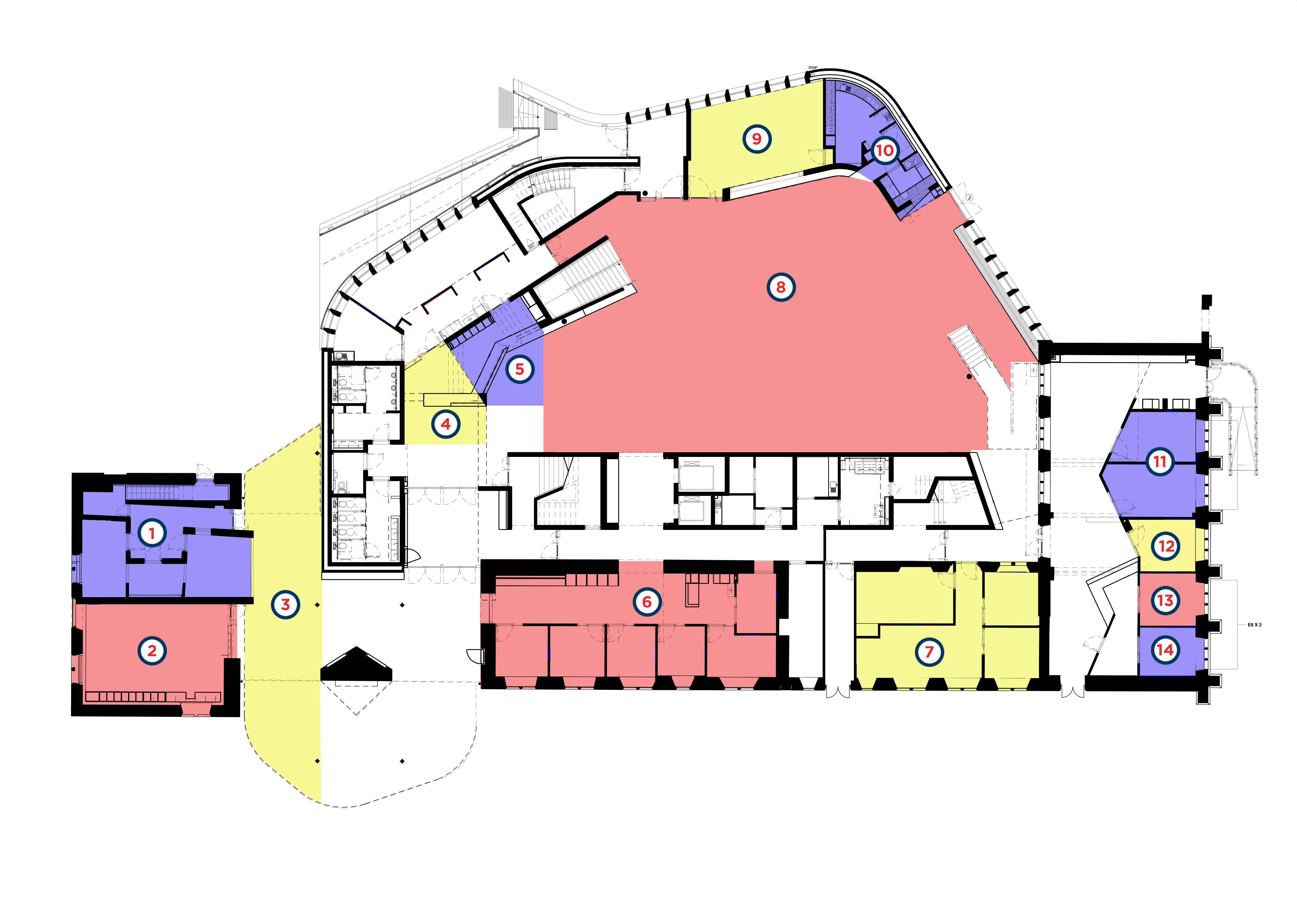 Ground floor layout plans of the Hub